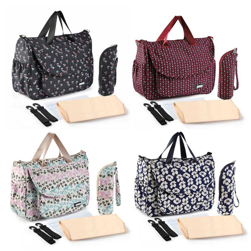 6pcs Waterproof Mummy Bag Large Capacity Maternity Handbag Flower Print Mom Handbag Baby Stroller Bags for Baby Baby Care Diaper6pcs Waterproof Mummy Bag Large Capacity Maternity Handbag Flower Print Mom Handbag Baby Stroller Bags for Baby Baby Care Diaper