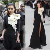 Ruffles flower front vestido de festa tigh high split three quarter sleeves Kim Kardashian black Mother of the Bride Dresses