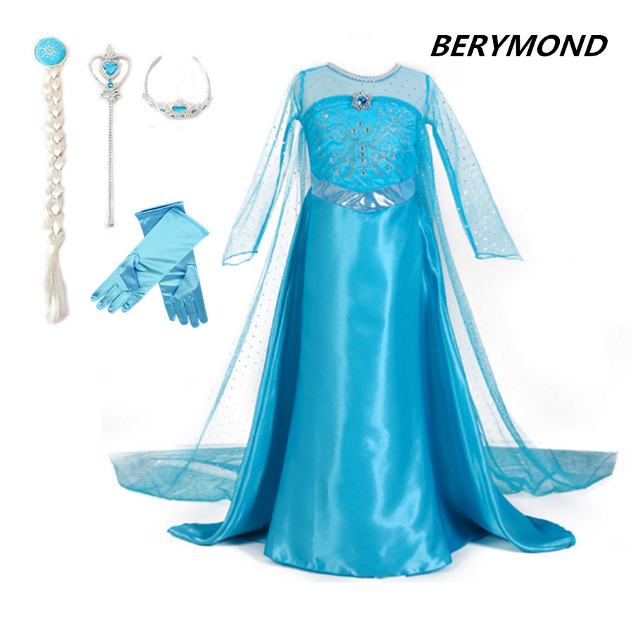 3-12Y Girls Costume Blue Elsa Princess Party Dress with Crown Wand Glove Braid Halloween Christmas Cosplay Clothes Baby Girls summer girl princess elsa dress with crown children halloween snow queen cosplay costume baby toddler kids girls party clothes