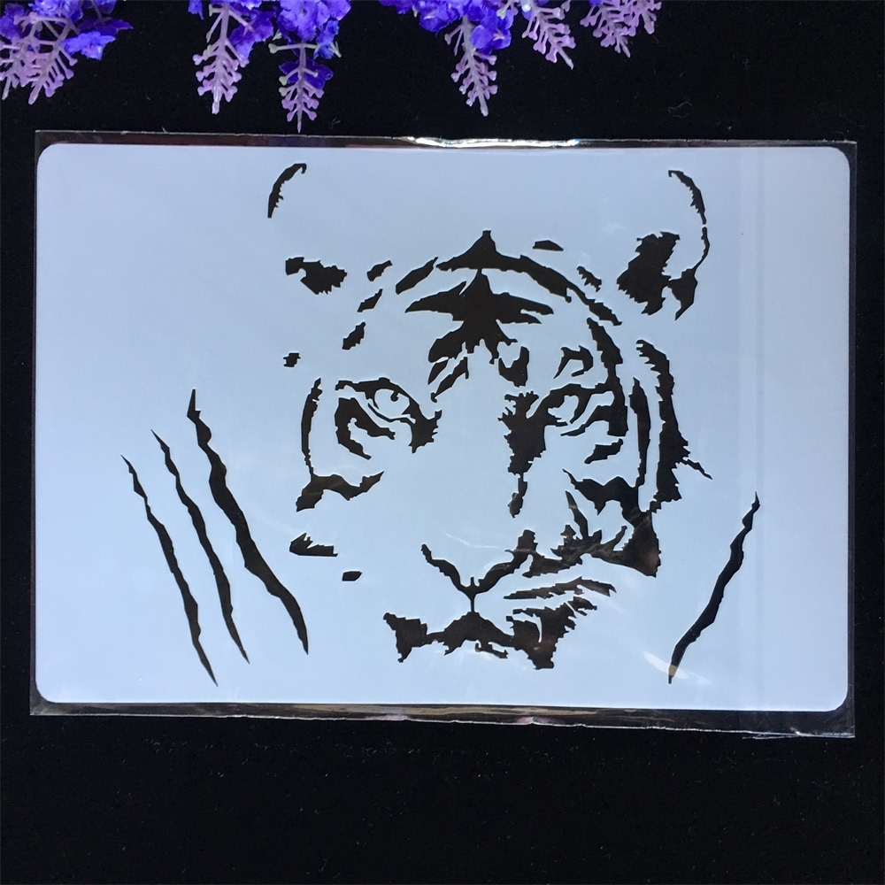 New Tiger DIY Layering Stencils Painting Scrapbook Coloring Embossing Album Decorative Paper Card Template