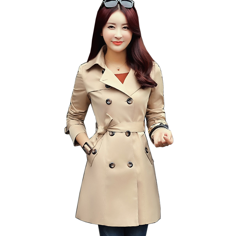 Double Breasted Midi-long Trench Coat Women Fashion Belt Cloak Mujer Windbreaker Female  ...