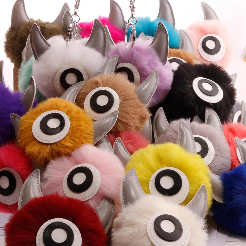 ZOEBER Fake Fur Pompom Chaveiro Chaveiros Chifre Orelha de Coelho Boneca Chaveiro Boneca Crianças Dos Desenhos Animados do Titular da Chave Charme Jóias