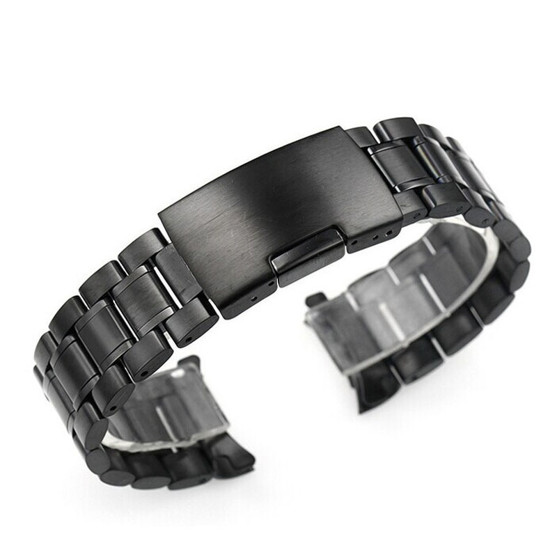 XINIU Hot Sale watch strap Stainless Steel Bracelet Watch Band Black Strap Straight End Solid Links Width 24mm watchbands #A89 hot leisure watchbands stainless steel watch band strap straight snaps bracelet 18mm 20mm 22mm