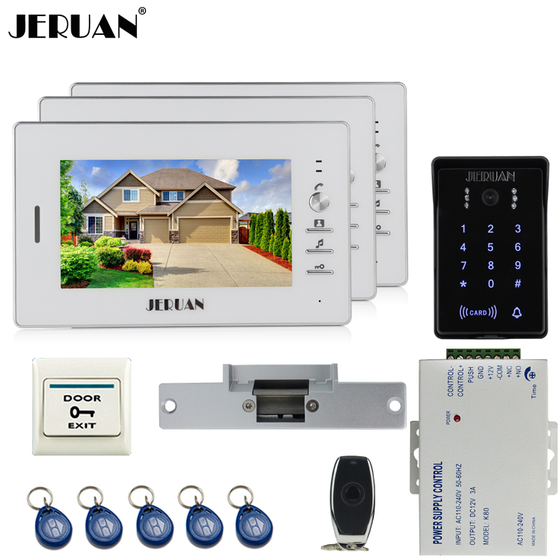 JERUAN 7`` LCD screen video doorphone intercom system kit 3 monitors RFID waterproof touch key password keypad Camera In Stock handheld game 3 inch touch screen lcd displays 4 way cross keypad polar system