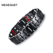 Meaeguet Casual Healthy Energy Bracelet Jewelry For Men Black Stainless Steel Chain Link Magnet Therapy Bracelets 15mm Wide