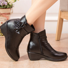 Fashion butterfly knot leather women boots winter shoes ankle boots for women 2017 short plush adult female snow boots