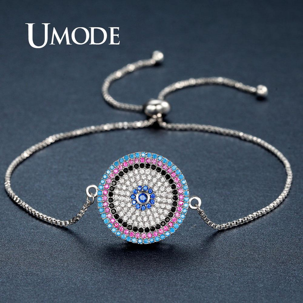 UMODE Round Bracelets for Women Lace Adjustable Bracelet Fashion Trendy Zircon Party Wedding Jewelry Femme Accessories UB0103B in Chain Link Bracelets from Jewelry Accessories