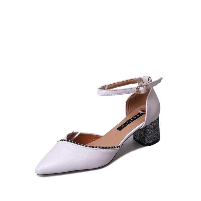 Boucle blanc Talons 2019 rose Chaussures Hauts Des Noir Sandales À De Épais Nouvelle Pointu Avec coréen Femmes 8raq8B4w