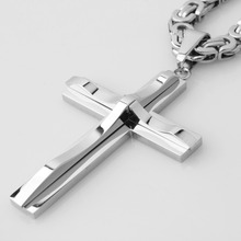 Sporty Biker Stainless Steel Polished Silver Christian Jesus Cross Pendant With 5mm Byzantine Chain Necklace Men's Boy's Jewelry