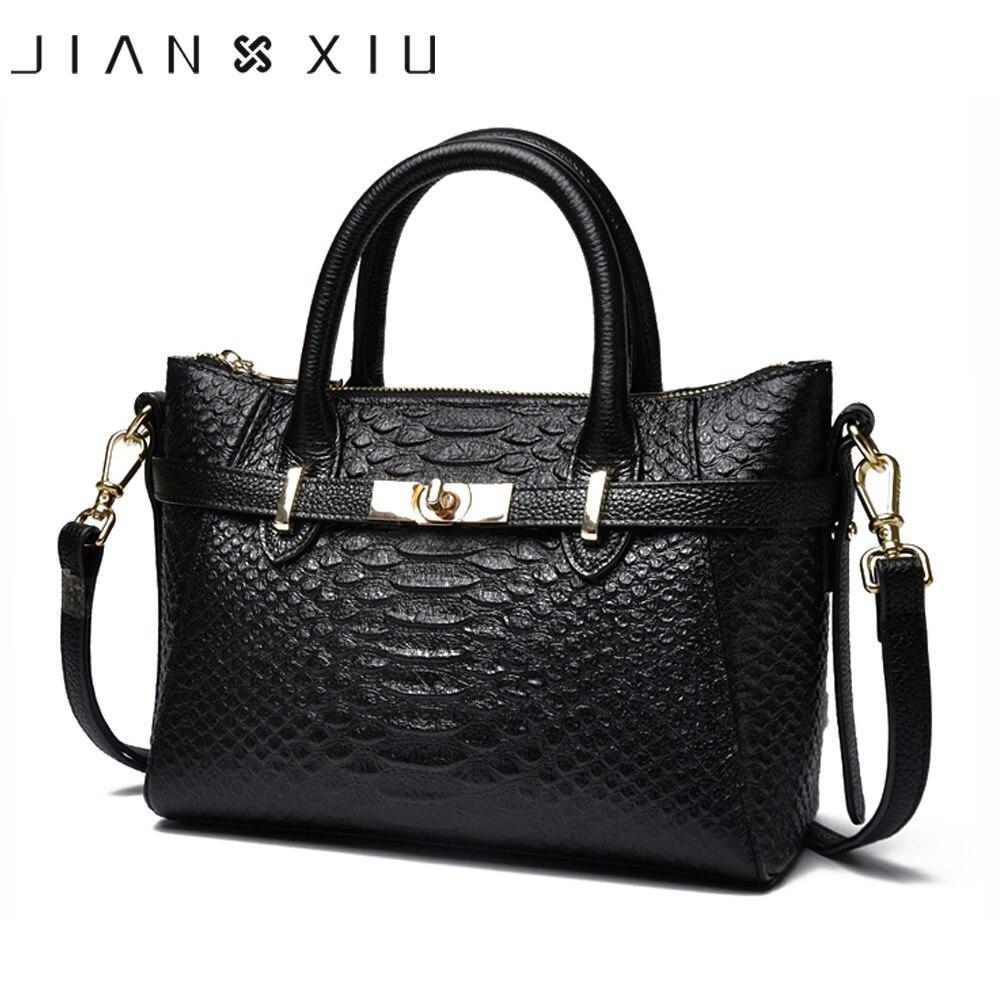 JIANXIU Brand Women Genuine Leather Handbags Famous Top handbag Cow Leather Crocodile Texture Messenger Shoulder Bags