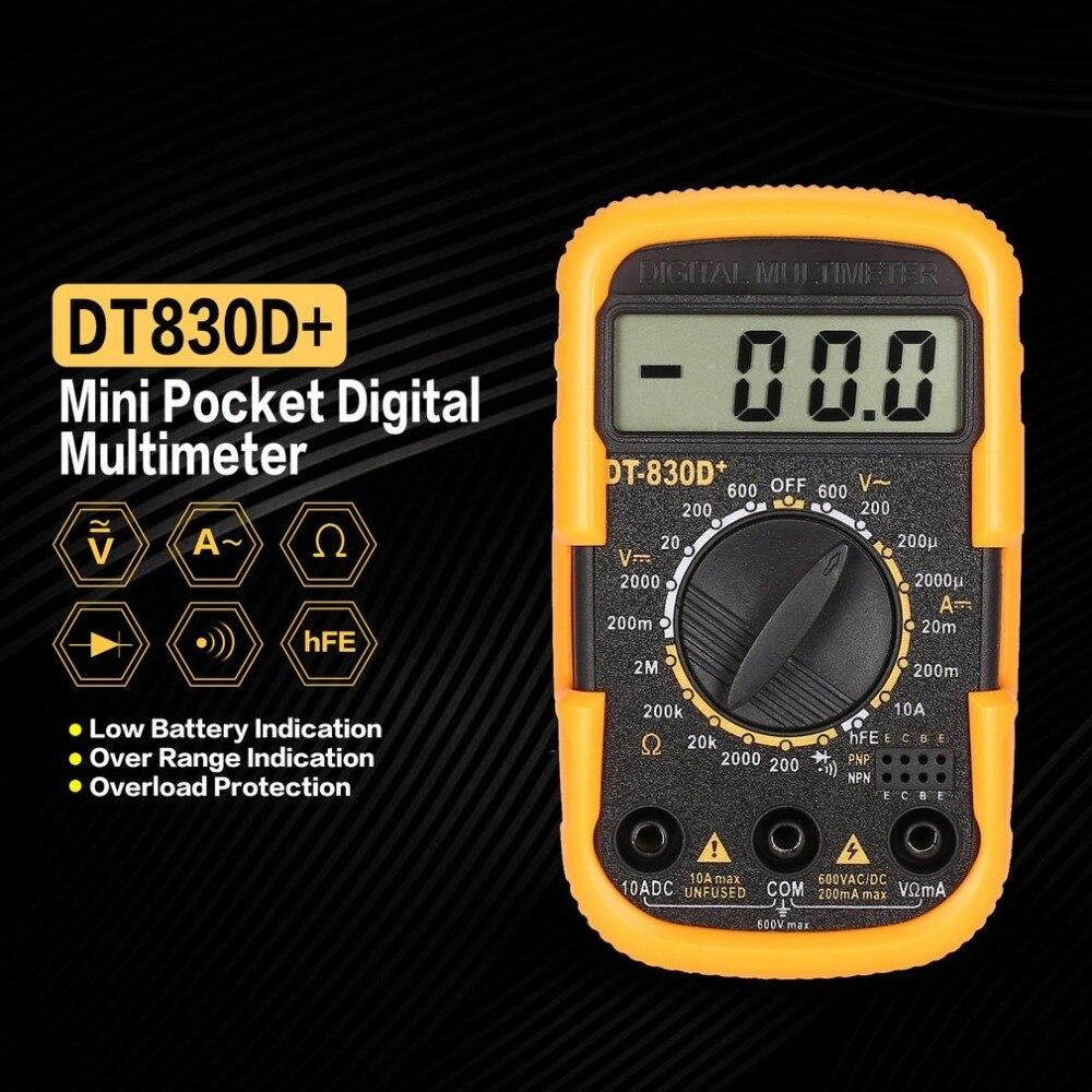 DT830D+ Mini Pocket Digital Multimeter 1999 Counts AC/DC ...