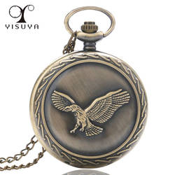 Винтаж Ретро Орел карманные часы Полный Охотник большой случае кварцевые двигаться Для мужчин t часы с Цепочки и ожерелья цепь подарки для