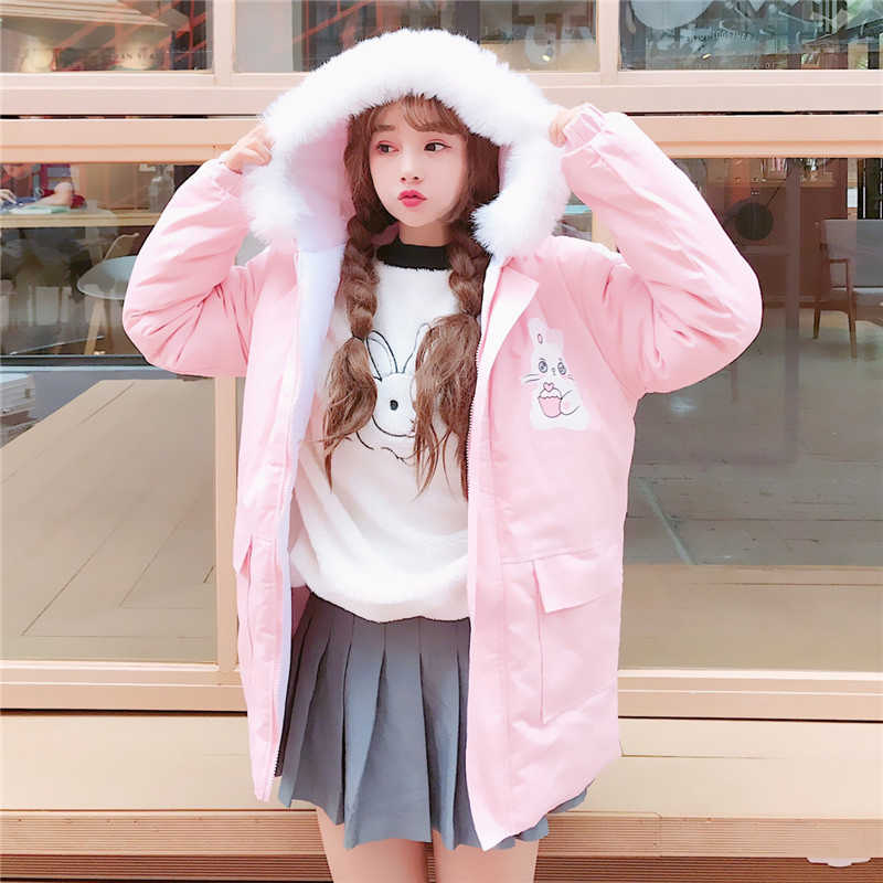 Japanese Style Winter Women Fashion Cute Cartoon Print Maiden Thicken Coats Kawaii Hooded Loose Pink Belt Casual Brief Long Coat