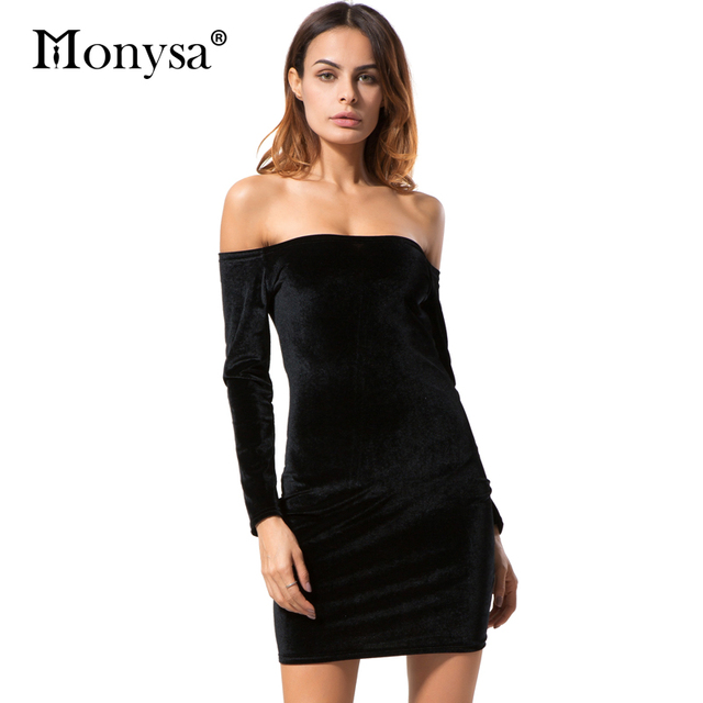 c2720800b9bb Women Black Velvet Dress Off Shoulder Clothing Autumn 2018 New Arrival Sexy  Party Dresses Women Bodycon Dress With Long Sleeve