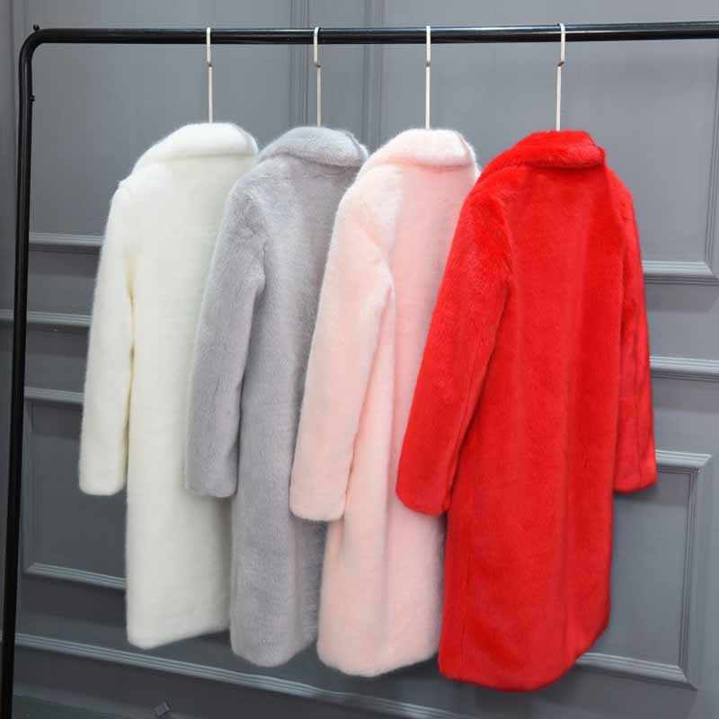 בינוני ארוך מזדמן נשים פרווה פרווה & פו פרווה מעיל 2019 חדש אופנה גדול גודל מוצק צבע נשים פרווה מעיל חורף חם NUW530