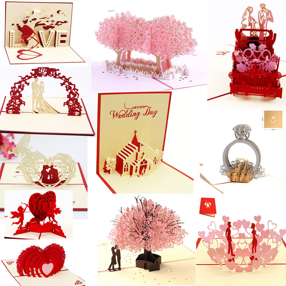 Us 1 54 35 Off 3d Pop Up Cards Wedding Invitations Party Invitation Baby Shower Gifts Wedding Greeting Card Anniversary Gifts Unicorn Postcard In