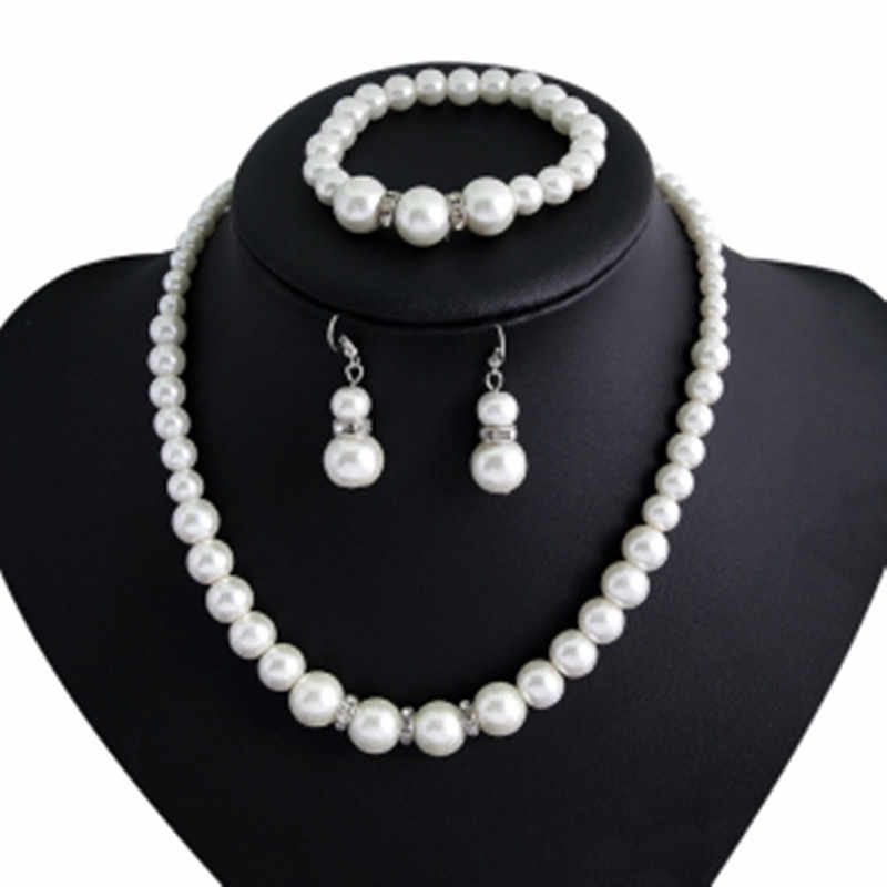 European and American classic fashion imitation pearl necklace bride jewelry necklace earrings bracelet suit