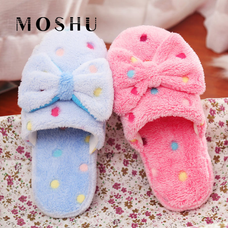 Women Warm Plush Winter Home Slippers Non Slip Cute Butterfly-knot Indoor Slippers Soft Warm Couple Flat Shoes Size 36-41 senza fretta women shoes winter warm indoor plush slippers butterfly knot soft women slippers home non slip beauty women slipper