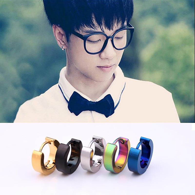 Men Earrings Hoop Gold Kolczyki Jewelry Silver Simple Stud Earrings Oorbellen Pendientes Hombre Titanium Steel Prevent Allergy