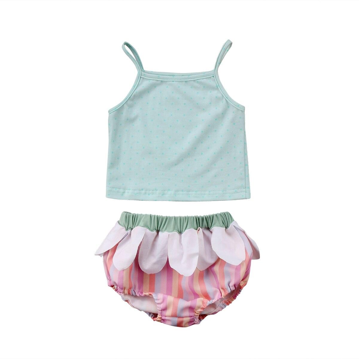 Cute Newborn Baby Girl Summer Vest Tops T-Shirt Stripe Ruffle Shorts 2Pcs Outfits Summer Toddler Girl Clothes 2pcs