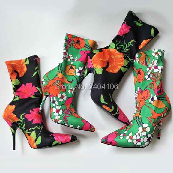 Fashion Black Red Pink Green Stretch Ankle Boots Women Pointed Toe Elastic Sock Booties Stiletto High Heels Floral Shoes Woman