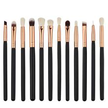 12Pcs Professional Eyes Makeup Brushes Set Wood Handle Eyeshadow Eyebrow Eyeliner Blending Powder Brush Makeup Tool