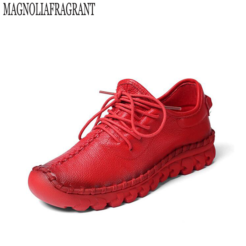 Handmade Leather Flat Shoes Women Female Casual Shoes Women Flats Shoes Slip On Leather Car Styling