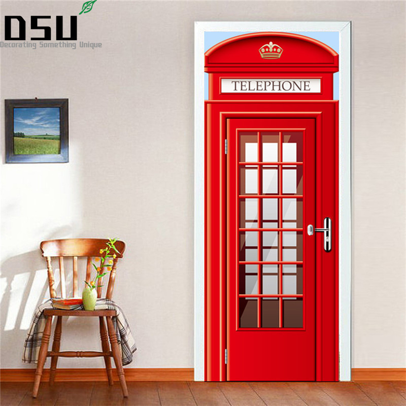 2pcs/set Telephone Booth Wall Stickers DIY Mural Bedroom Home Decor Poster PVC Waterproof 3D Door Sticker Refrigerator Decal2pcs/set Telephone Booth Wall Stickers DIY Mural Bedroom Home Decor Poster PVC Waterproof 3D Door Sticker Refrigerator Decal