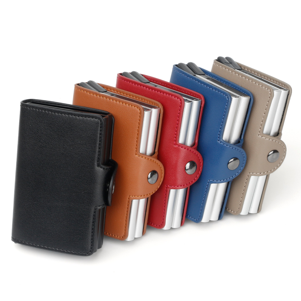 Men or Women RFID Credit Card Holder PU Leather Slim Wallet Double Box Aluminum CardHolder Small Antimagnetic Purse Fashion