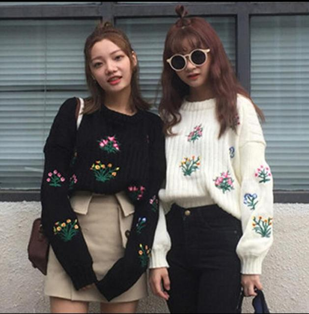 2016 outono nova Coreano bordado de manga curta parágrafo longo-sleeved camisola