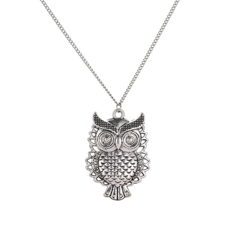 Vintage Long Pendant Owl Necklace Antique Bronze Crystal necklaces Animal Long Chain Jewelry