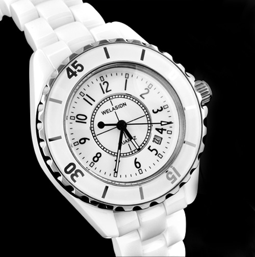 Ceramic watch white ladies watch vintage table fashion rhinestone sheet jelly table trend