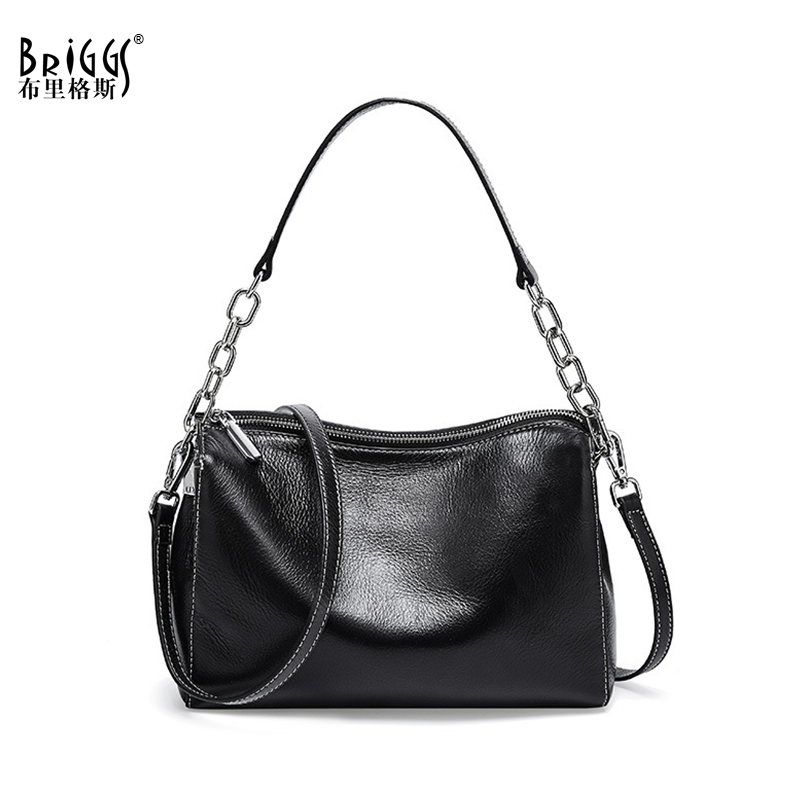 BRIGGS Chain Bag Crossbody Bags For Women Genuine Leather Shoulder Bag Flap Luxury Handbags Women Bags Designer Black White