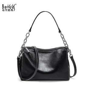 Image 1 - BRIGGS Chain Bag Crossbody Bags For Women Genuine Leather Shoulder Bag Flap Luxury Handbags Women Bags Designer black white