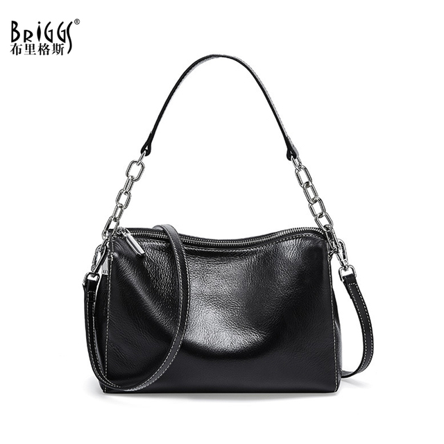 BRIGGS Chain Bag Crossbody Bags For Women Genuine Leather Shoulder Bag Flap Luxury Handbags Women Bags Designer black white