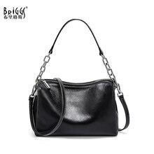 BRIGGS Kette Tasche Umhängetaschen Für Frauen Aus Echtem Leder Schulter Tasche Klappe Luxus Handtaschen Frauen Taschen Designer schwarz weiß