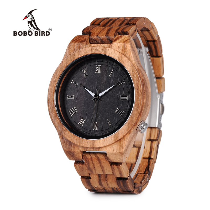 BOBO BIRD V-M30 Mens Watches Top Brand Luxury All Zebra Wood Quartz Watch for Male as Gift relojes hombre 2017 bobo bird wc12 12holes brand design wood watches mens watch top luxury for women real leather straps as best gifts