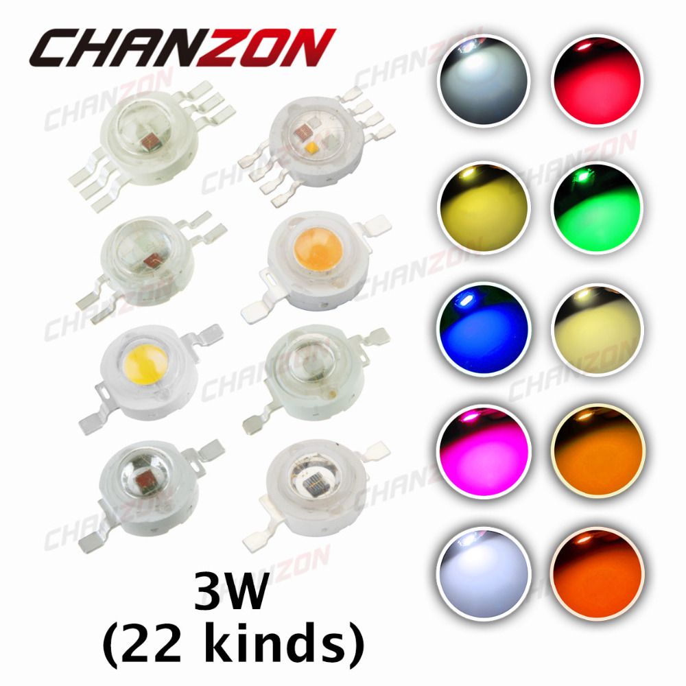 10pcs High Power LED Chip 3W LED Beads 3 W Natural Cool Warm White Red Blue Green UV RGB RGBW IR 380-840nm 3 watt Grow Light