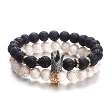 New fashion personality bracelet for women or men trendy jewelry volcanic stone alloy crown vintage gift ns63