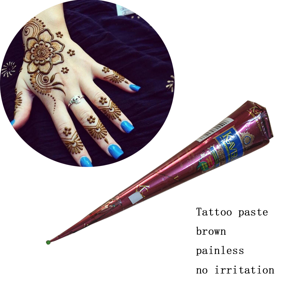 Indian Henna Tattoos Full Body: Natural Brown 1PCS Indian Henna Tattoo Paste Cones Mehndi