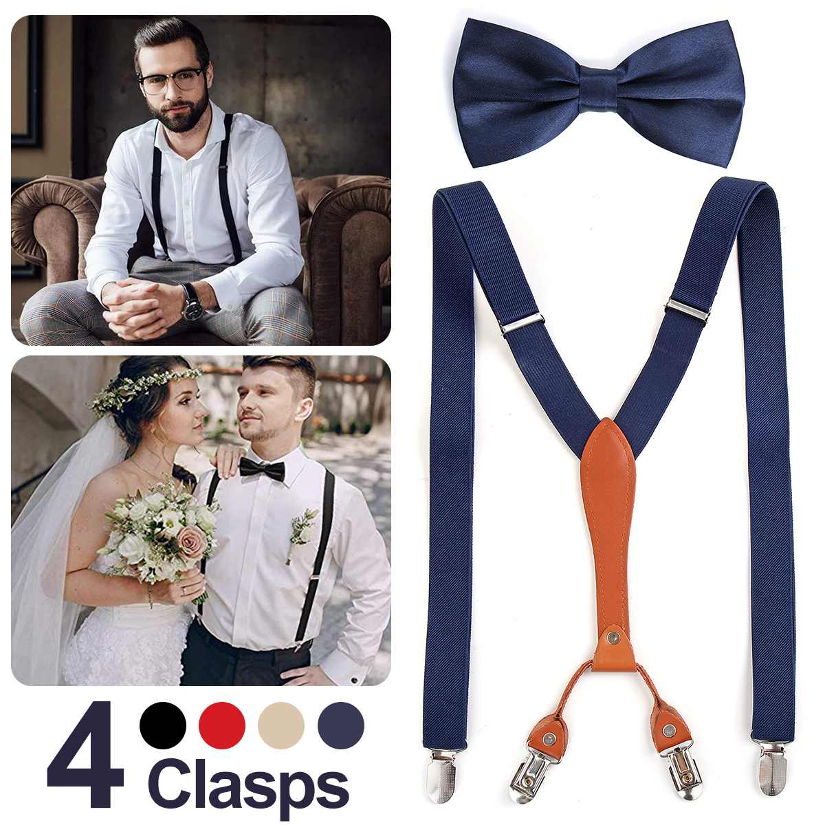 Fashion Man's Belt Bowtie Set Men Women Suspenders Polyester Y-Shape 4 Clasps Suspenders Trousers Strap With Bowknot