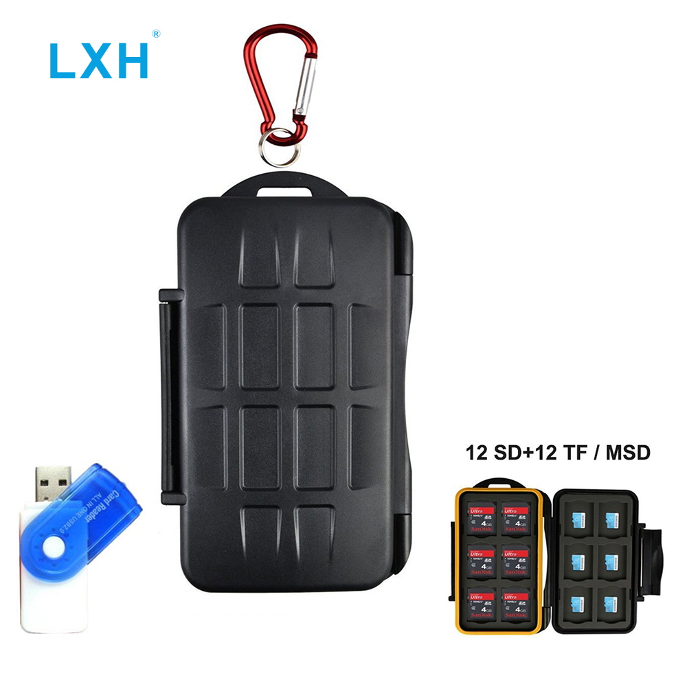 LXH  24 Slots Memory Card Case Holde Durable Waterproof Storage Card Cartridge For 12SD & 12TF/ Micro SD(SD CF MSD TF Micro SD)