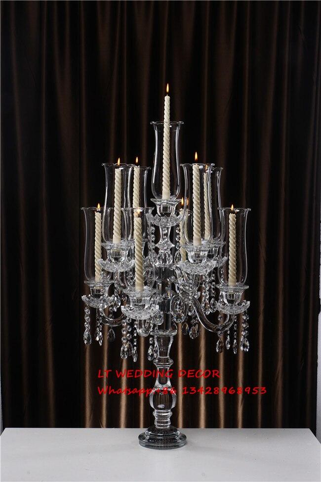 Элегантный 9 оружия хрустальные канделябры центральные, свадебные украшения