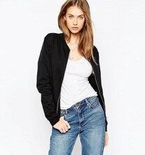 2018 Fashion Simple Style Women Zipper bomber Black jacket Casual Coat Punk Outwear