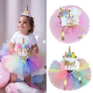 Комплект детской одежды из 3 предметов, одежда для девочек на первый день рождения, вечерние Единорог комбинезон, платье-пачка с тортами