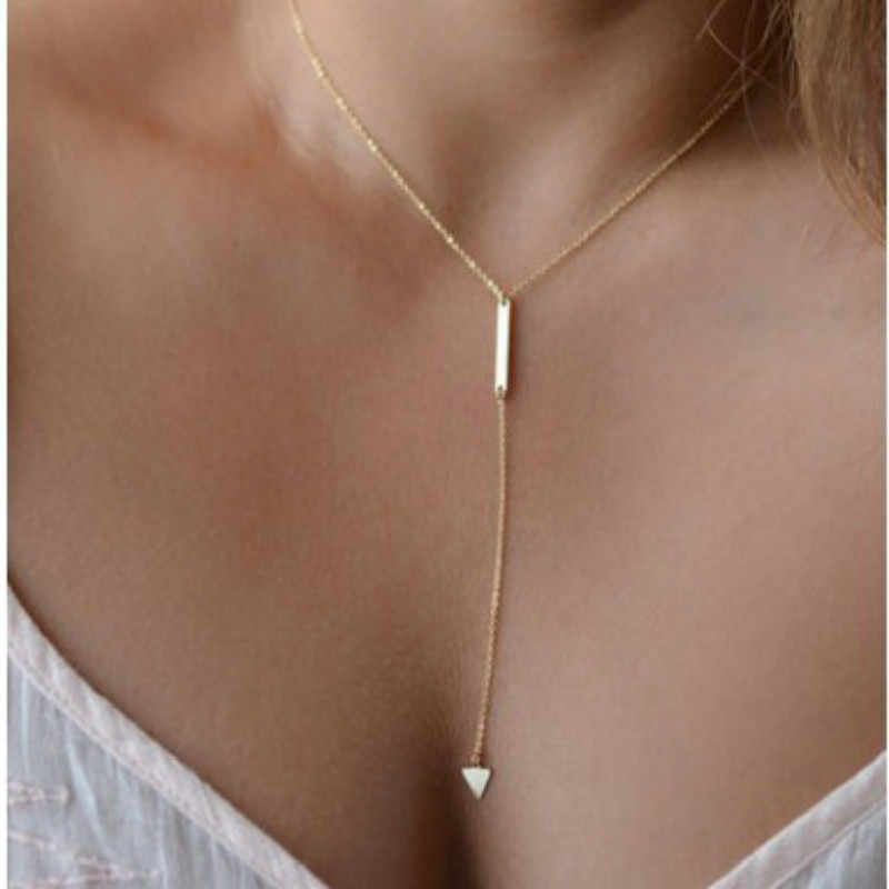 2018 fashion woman Casual Fashion Metal Chain Bar Circle Lariat Triangle Punk Sexy Necklace woman jewelry drop shipping