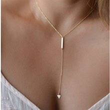 2018 fashion woman Casual Fashion Metal Chain Bar Circle Lariat Triangle Punk Sexy Necklace woman jewelry drop shipping(China)