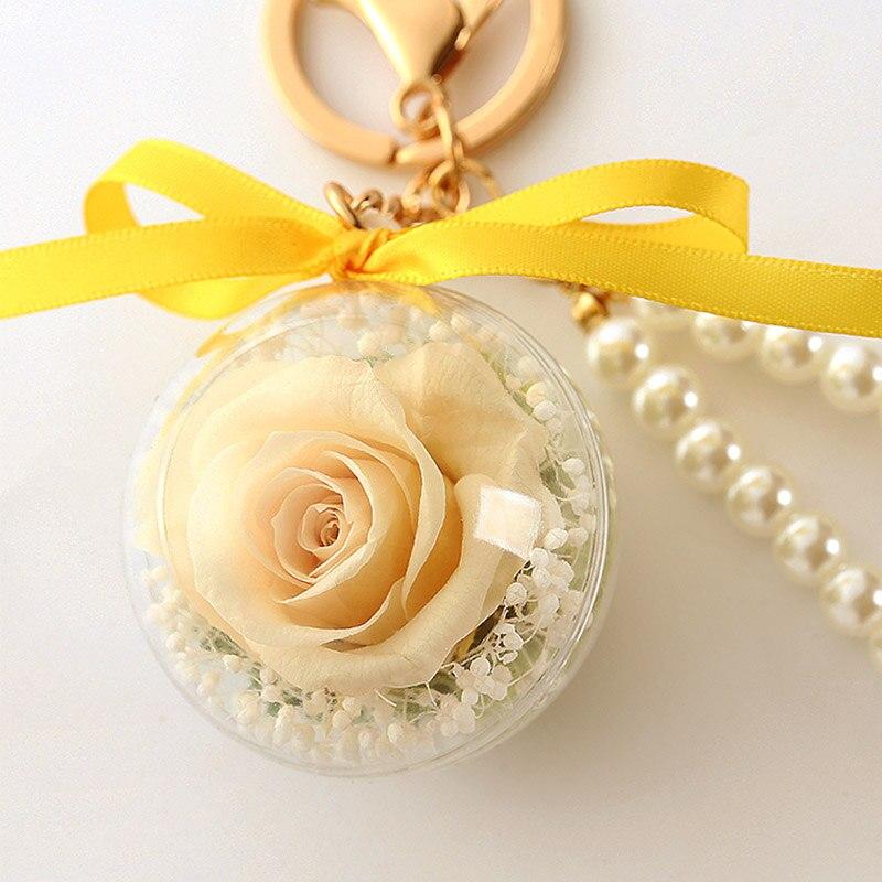 Романтический рождественский подарок для женщин вечные подвески в форме роз украшение автомобиля цветы сушеные цветы Висячие для сумки/брелок - Цвет: 04