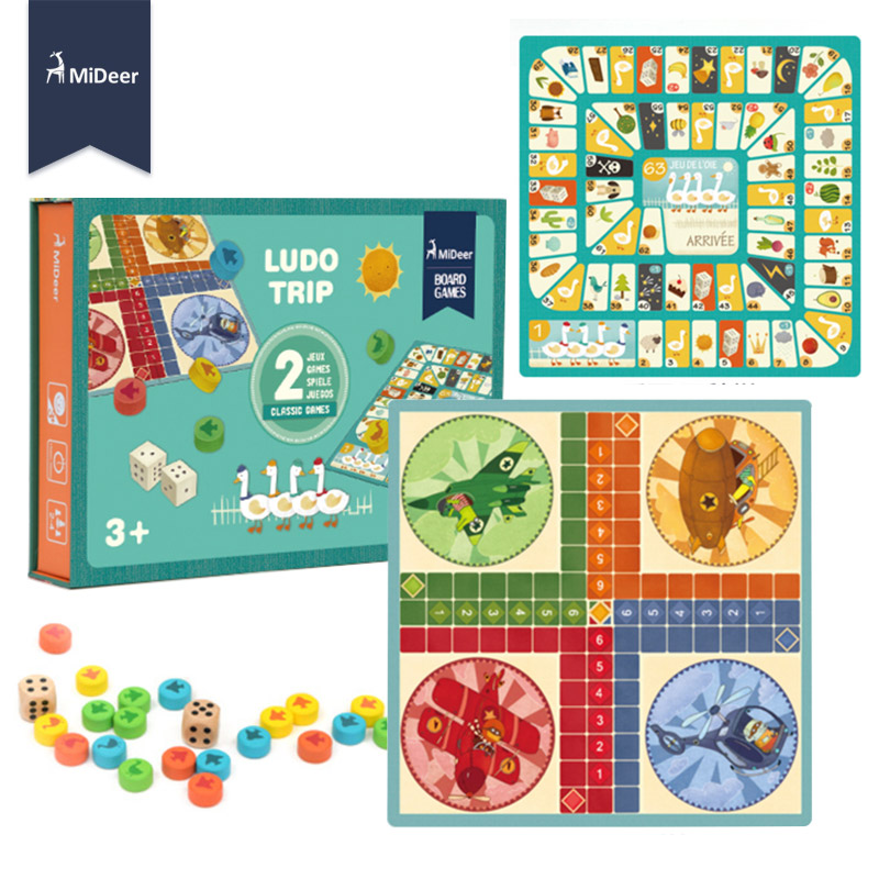 US $14 62 35% OFF|MiDeer Kids Wooden Toys Ludo Trip Go Swan Flight Diary  Classic Flying Chess Paper Board Game Educational Toys for Children Gift-in