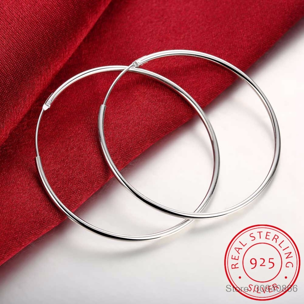 100% 925 Sterling Silver Hoop Earring For Women 50mm 60mm Round Circle Loop Simple Woman Silver Hoop Earrings